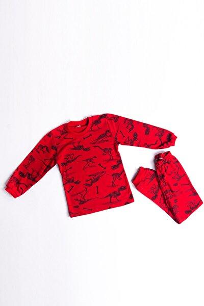 Çocuk Kırmızı Neşeli Dinozor Pijama Takımı