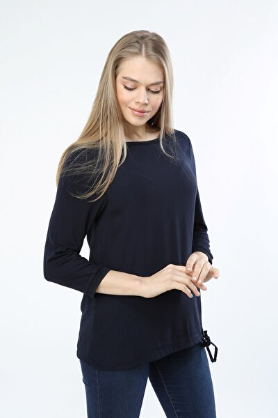 Kadın Lacivert Kayık Yaka Eteği Bağcıklı Bluz