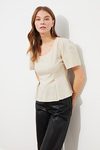 Bej Omuz Detaylı Bluz TWOSS21BZ0798