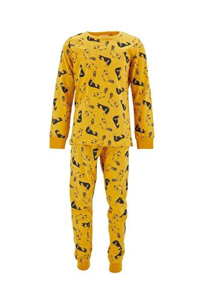 Erkek Çocuk Sarı Sevimli Hayvan Desenli Pijama Takımı