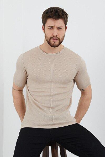 Erkek Slim Fit Pamuklu T-shirt Bej