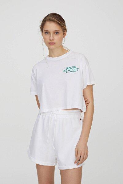 Kadın Beyaz Yeşil İşlemeli Beyaz T-Shirt 04240373