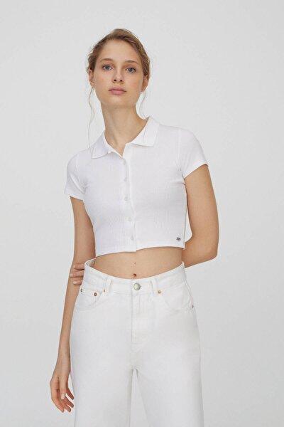Kadın Beyaz Düğmeli Kısa Kollu Polo T-Shirt 04240368