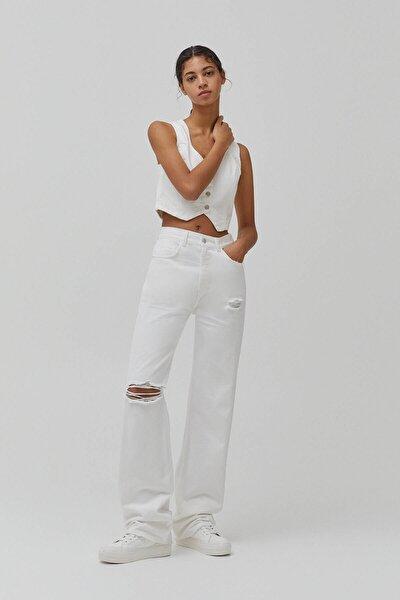 Kadın Beyaz Yüksek Bel Straight Fit Jean 04676332