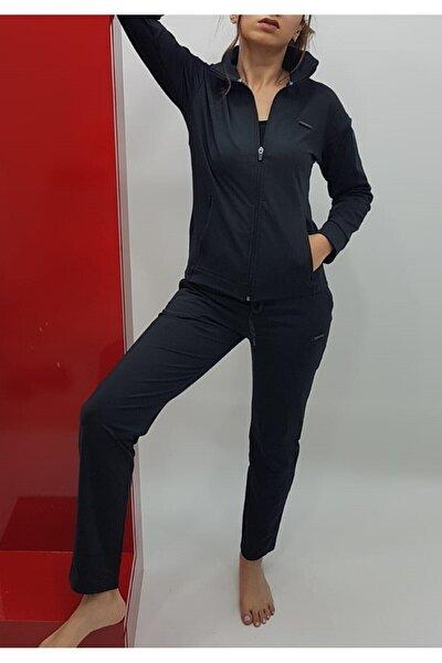 Kadın Siyah Yüksek Bel Dik Yaka Dalgıç Eşofman Takım