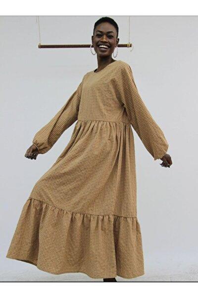 Kadın Kahverengi Pötikareli Uzun Elbise