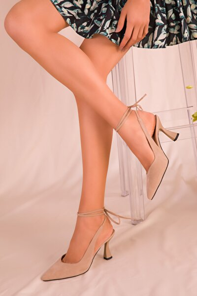 Ten Süet Kadın Klasik Topuklu Ayakkabı 15776