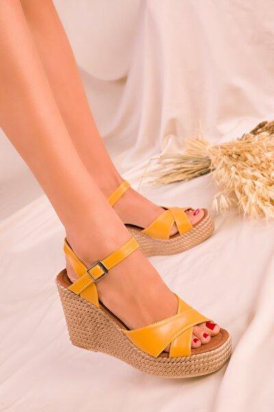 Hardal Sarı Kadın Dolgu Topuklu Ayakkabı 15943