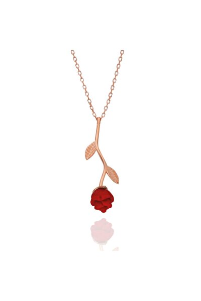Tamamı Saf Orjinal 925 Ayar Gümüş Rose Kaplama Kırmızı Gül Kolye