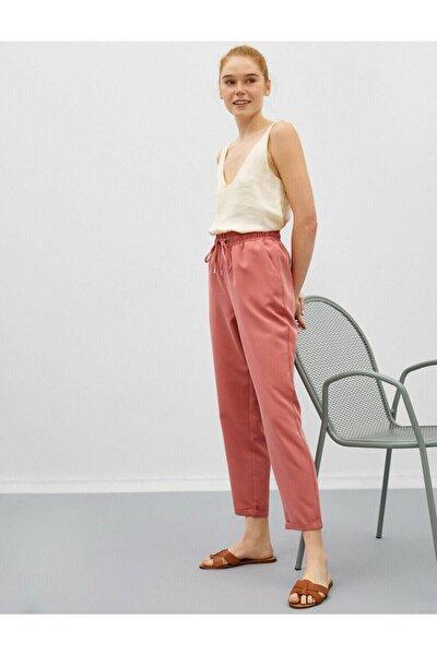 Kadın Pembe Belden Bağlamalı Cepli Pantolon