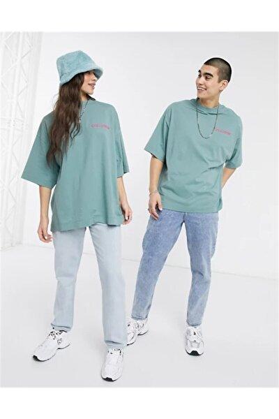 Unisex  Mint Yeşili Asos Göğsü Logolu Oversize T Shirt
