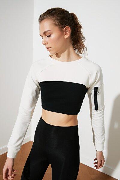Beyaz Crop Spor Sweatshirt TWOSS20SW0104