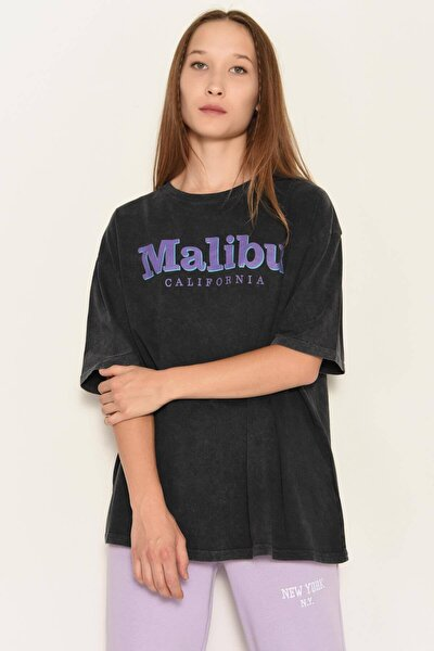 Kadın Füme Baskılı T-Shirt P0949 - I4 Adx-0000022347