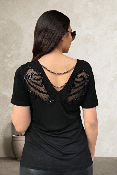 Kadın Siyah Sırtı Kanat Aplike Ve Zincirli Bluz