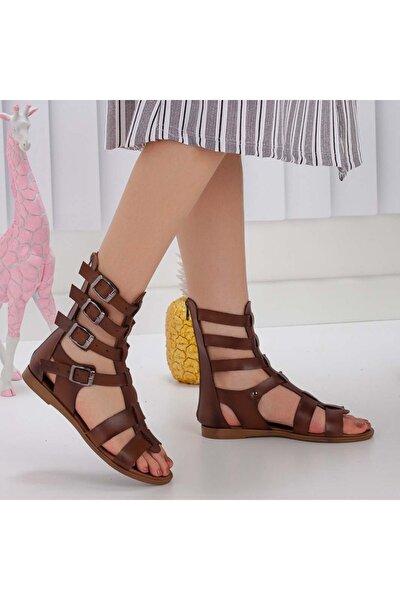 Kahverengi Deri Tozu Gladyatör Sandalet