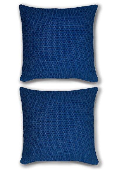 Çift Tarafı Baskılı Saks Mavisi 2'li Yastık Kırlent Kılıfı Kombini Premium Yumuşak Kumaş 45x45