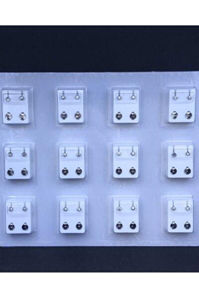 12 Çift Tektaş Modeli Gümüş Rengi Cerrahi Kulak Delme Küpesi
