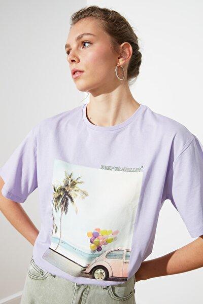 Lila Baskılı Boyfriend Örme T-Shirt TWOSS20TS0574