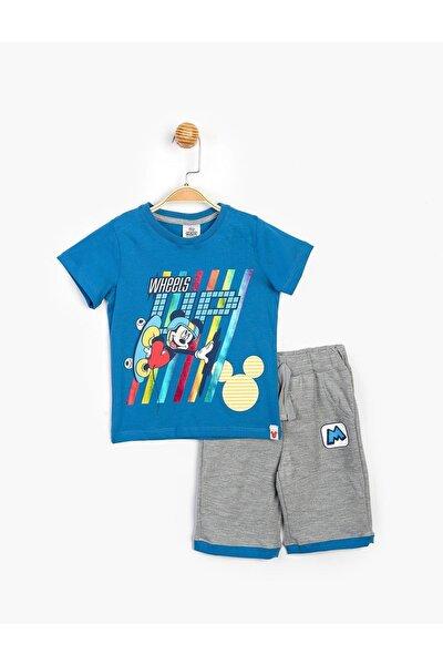 Erkek Çocuk Mavi Mickey Şorlu Takım 15462