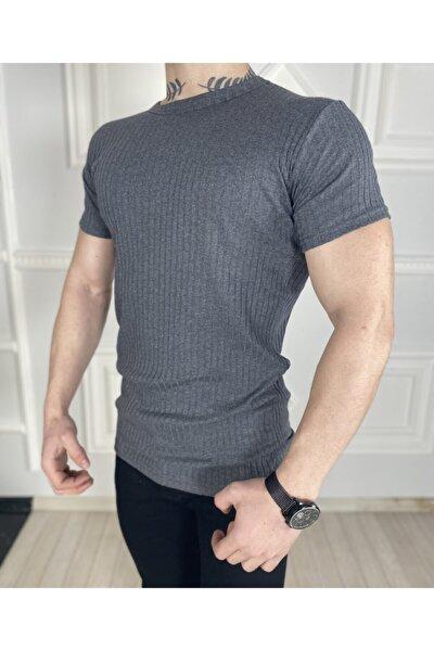 Erkek Gri Örme Triko Tişört