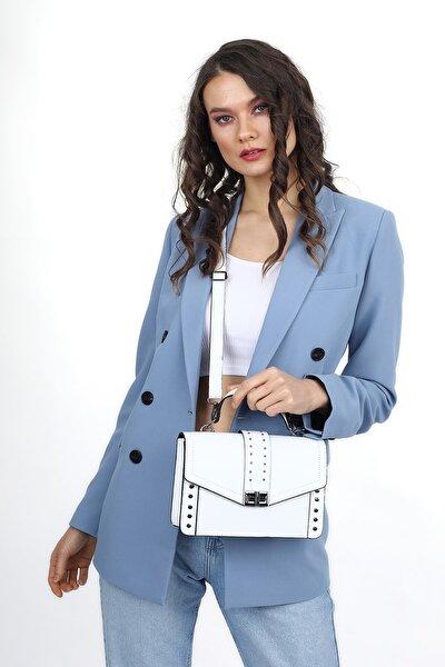 Aynı Butikte 2. Ürün 1 TL Beyaz Kadın Kapaklı Metal Aksesuarlı Omuz Çantası