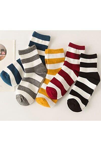 Unisex Karışık Renkli Çizgili Tenis Çorabı 6'lı