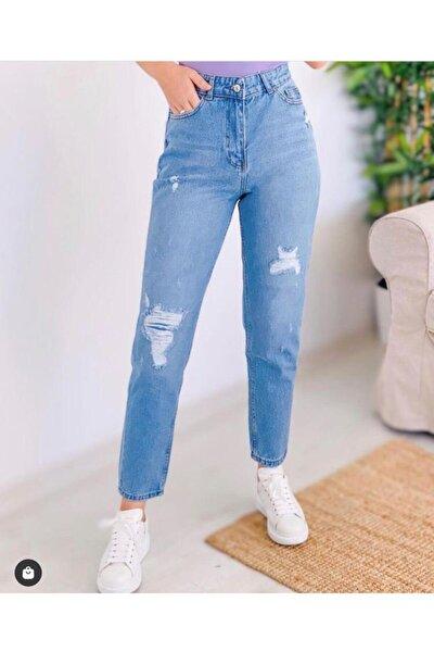 Kadın Açık Mavi Yırtık Kot Pantolon