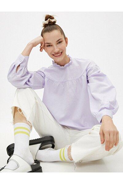 Kadın Balon Kollu Bluz Uzun Kollu Firfirli Çizgili Pamuklu