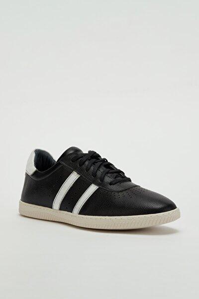 Erkek Siyah Hakiki Deri Sneaker Mgoslo04