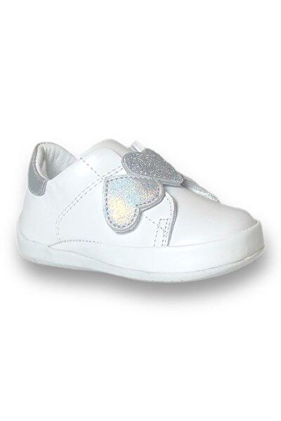Kız Bebek Beyaz Kalpli İlk Adım Ayakkabısı