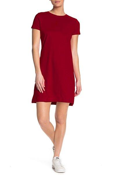 Kadın Kırmızı Düz, Baskısız Kısa Kollu Penye T-shirt Elbise