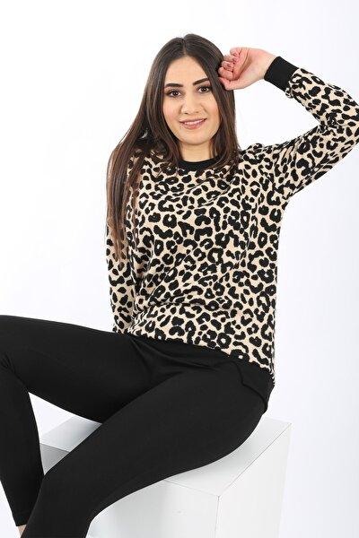 Kadın Siyah Leopar Desenli Yumuşak Dokulu Selanik Örgü Sweatshirt