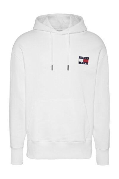 Erkek Beyaz Sweatshirt Tjm Tommy Badge Hoodıe DM0DM06593
