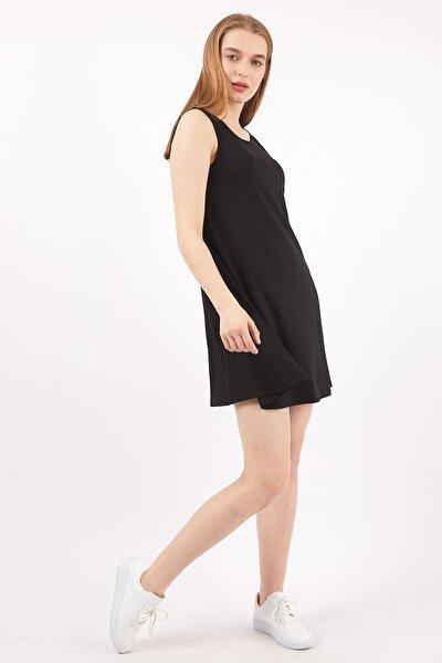 Kolsuz Siyah Viskon Elbise