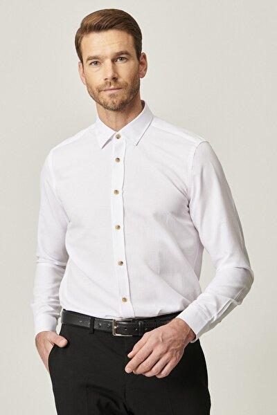 Erkek Beyaz Tailored Slim Fit Dar Kesim Düğmeli Yaka Oxford Gömlek