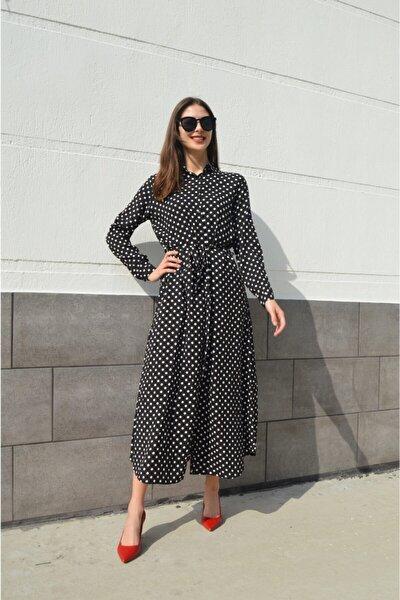 Kadın Siyah Kuşaklı Puantiye Baskılı Gömlek Elbise Fm2263