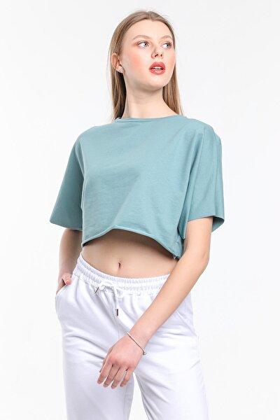 Kadın Crop T-shirt %100 Pamuk Bisiklet Yaka Yarasa Kol Düz Crop Top Mint Yeşili Tişört