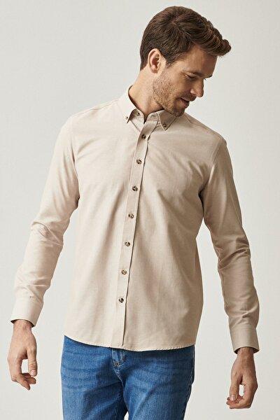 Erkek Bej Tailored Slim Fit Dar Kesim Düğmeli Yaka Gabardin Gömlek