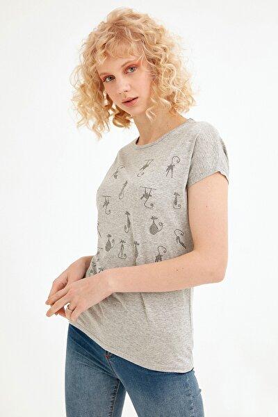 Kadın Gri Simli Kedi Baskılı Tshirt