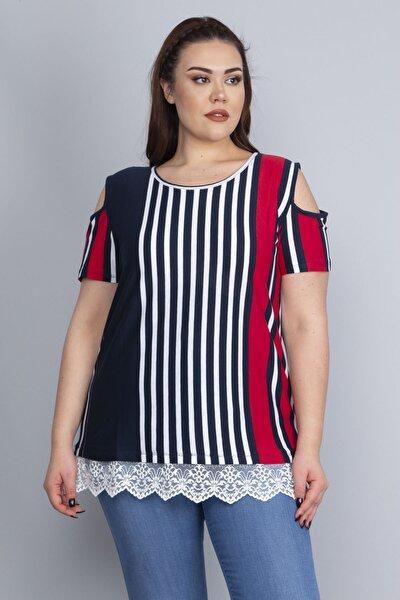 Kadın Lacivert Omuz Dekolteli Etek Ucu Dantel Detaylı Çizgili Bluz 65N22752
