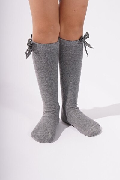 Kız Çocuk Gri Melanj Kurdeleli Basic Çorap KAT01K00083
