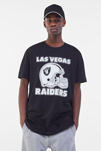 Erkek Siyah Süprem Kumaş Nfl Raiders T-Shirt 02437210
