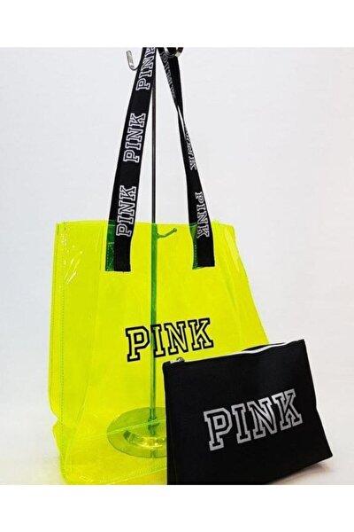 Şeffaf Plaj Günlük Çanta Pink