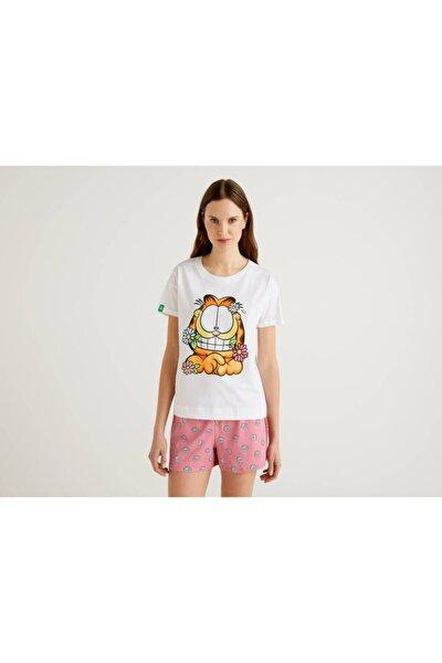 Kadın Beyaz Garfield Baskılı Pijama Üstü