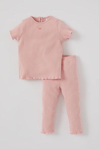 Kız Bebek Kalp Nakışlı Fitilli Pijama Takımı