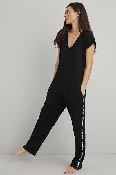 Kadın Siyah Yanı Şeritli Tulum BK1105