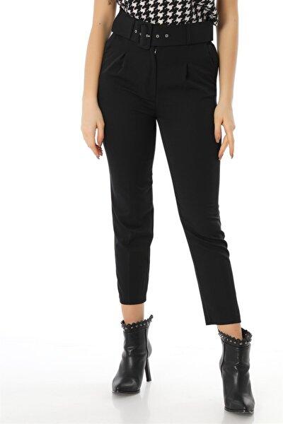 Kemerli Kumaş Pantolon - Siyah