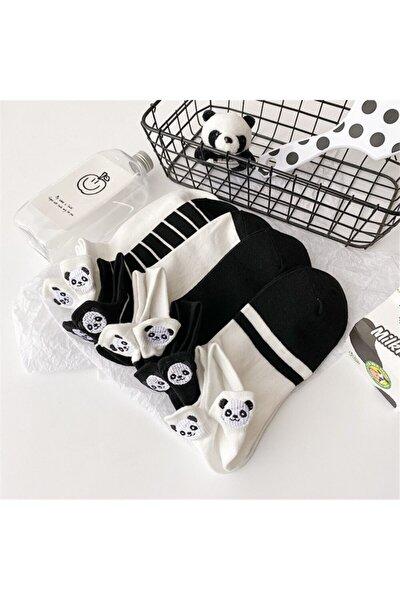 Kadın 5 Çift Siyah ve Beyaz Panda Desenli Nakışlı Patik Çorap