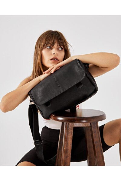 Nubuk Kumaş Kadın Postacı Çanta Lina Siyah