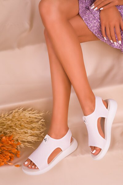 Beyaz Kadın Sandalet 16136